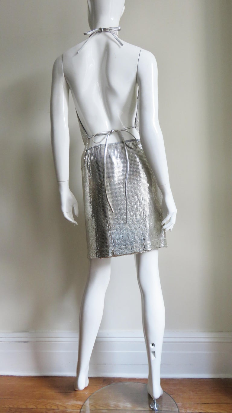 Anthony Ferrara Silver Metal Mesh Halter Top and Skirt Set 1970s For Sale 14