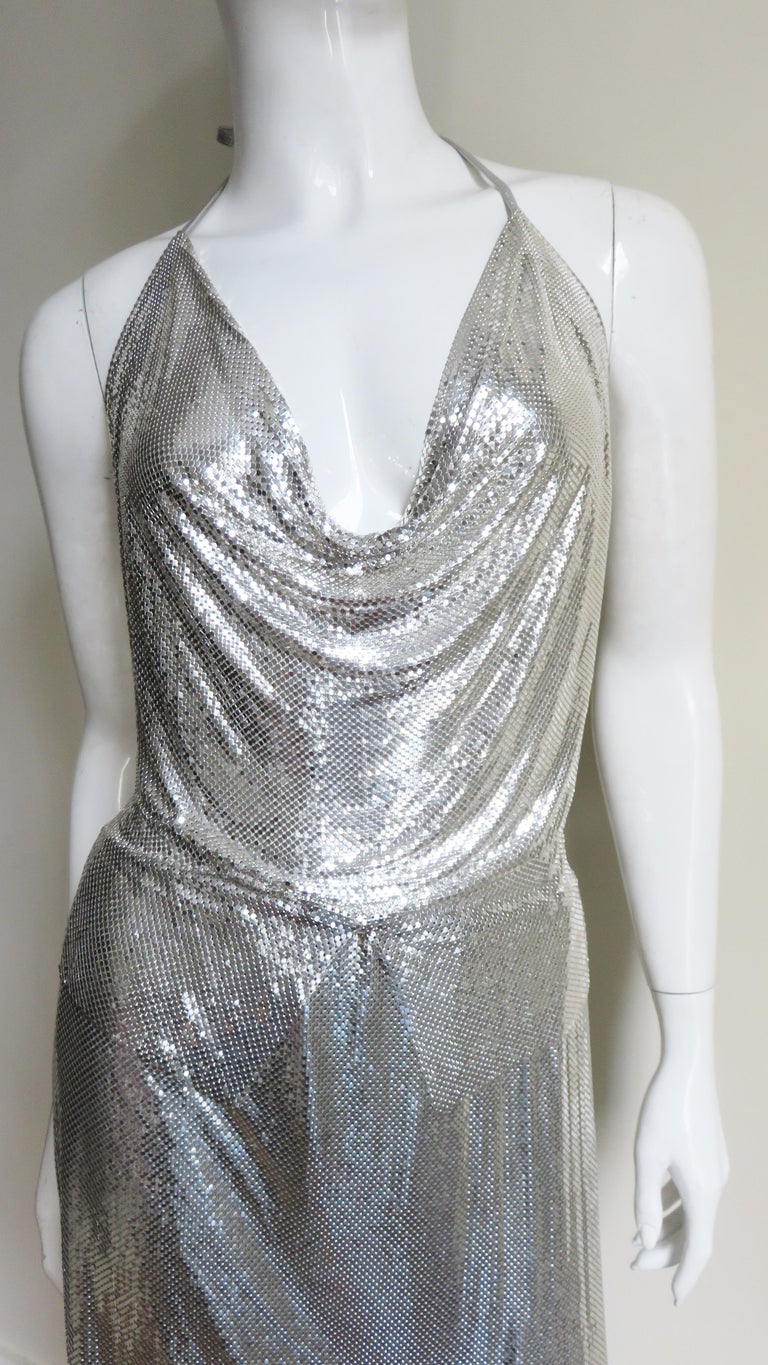 Anthony Ferrara Silver Metal Mesh Halter Top and Skirt Set 1970s In Good Condition For Sale In New York, NY