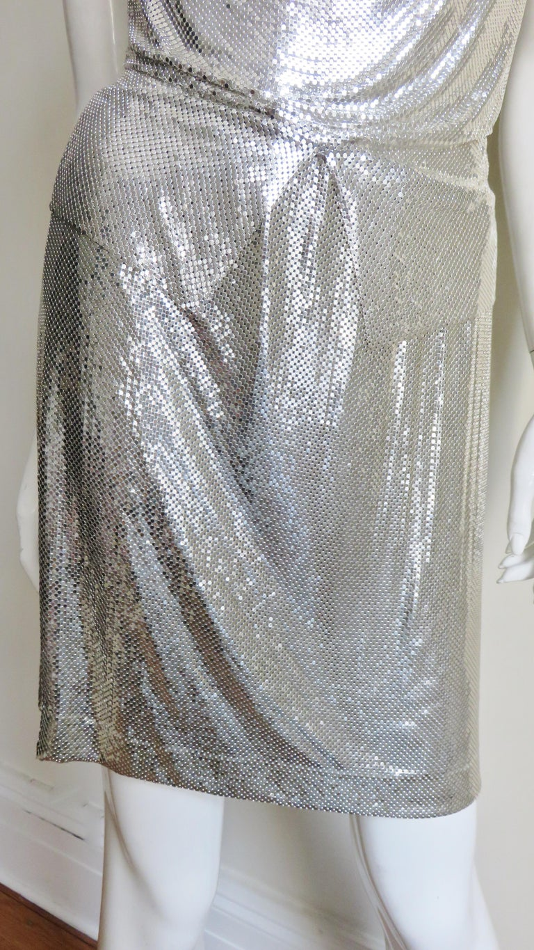 Women's Anthony Ferrara Silver Metal Mesh Halter Top and Skirt Set 1970s For Sale