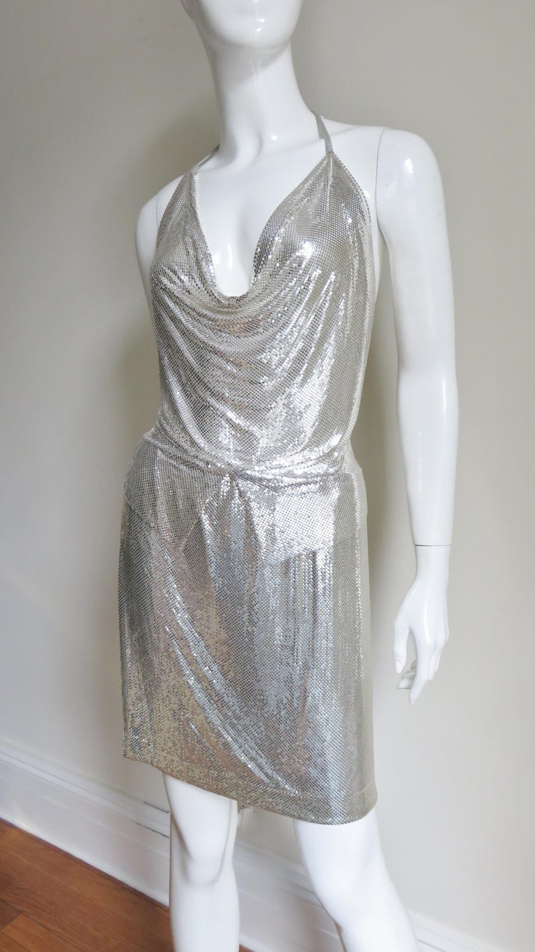 Anthony Ferrara Silver Metal Mesh Halter Top and Skirt Set 1970s For Sale 1