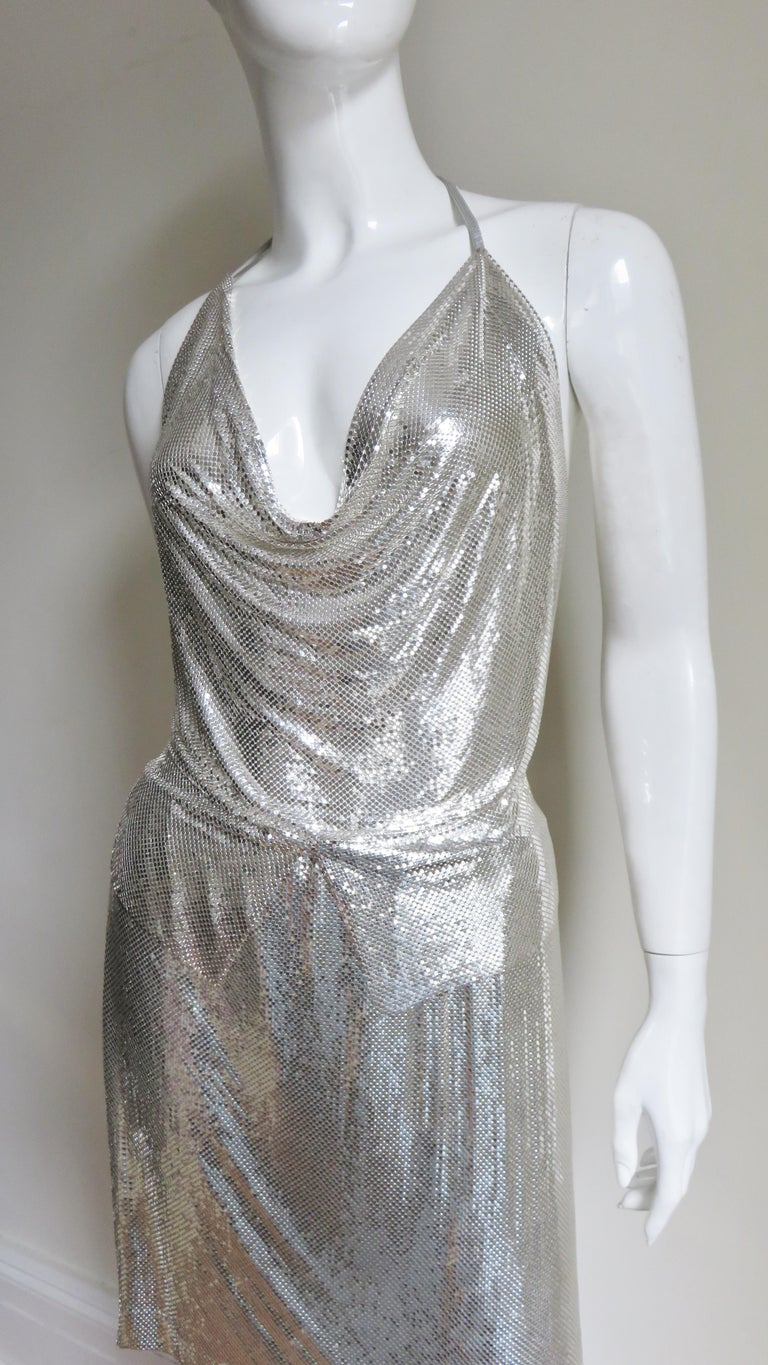Anthony Ferrara Silver Metal Mesh Halter Top and Skirt Set 1970s For Sale 2