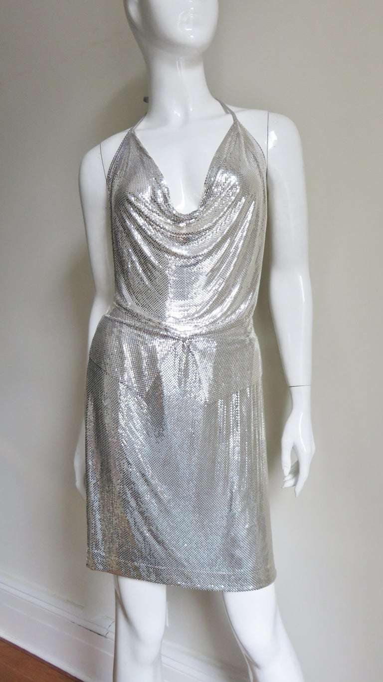 Anthony Ferrara Silver Metal Mesh Halter Top and Skirt Set 1970s For Sale 4