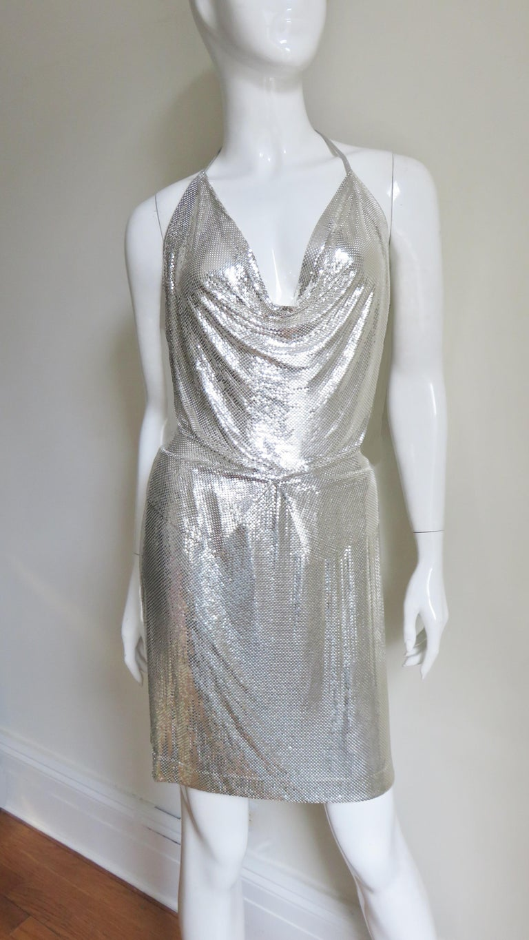 Anthony Ferrara Silver Metal Mesh Halter Top and Skirt Set 1970s For Sale 5