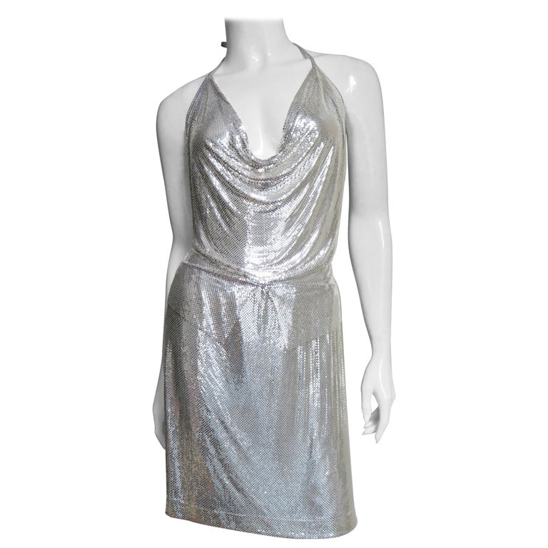 Anthony Ferrara Silver Metal Mesh Halter Top and Skirt Set 1970s For Sale