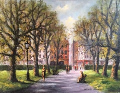 Park Walk, Impressionist City Scene, Signed Oil Painting