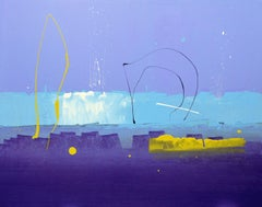 61 Deep Abstract Painting (Blues and Purples), Anthony Hunter, Gloss on Panel