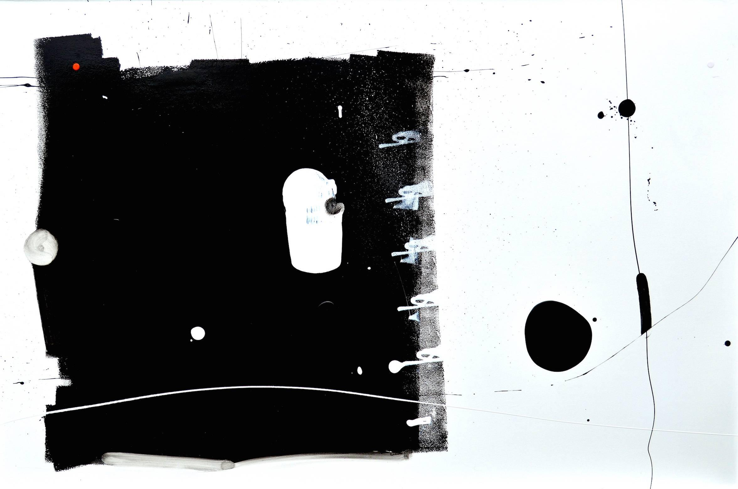 Curious Big Black Square Running Away from Black Blob Over there Painting