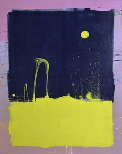 Dark Blue Sky with Yellow Moon Blob Abstract Painting, Gloss on Panel