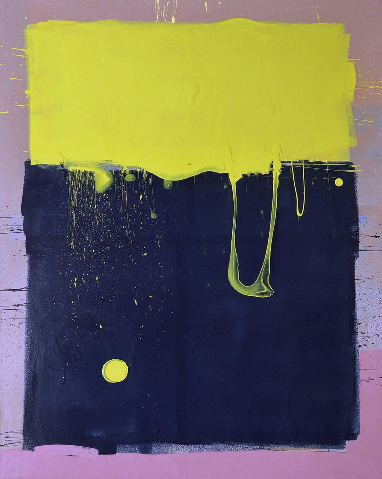 Dark Blue Sky with Yellow Moon Blob Abstract Painting, Gloss on Panel For Sale 2