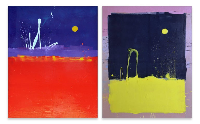 Dark Blue Sky with Yellow Moon Blob Abstract Painting, Gloss on Panel For Sale 3
