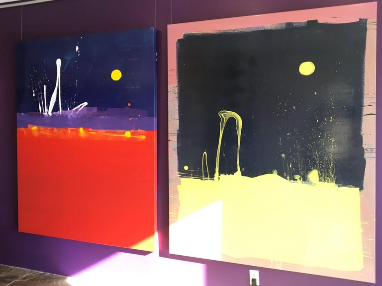 Dark Blue Sky with Yellow Moon Blob Abstract Painting, Gloss on Panel For Sale 4