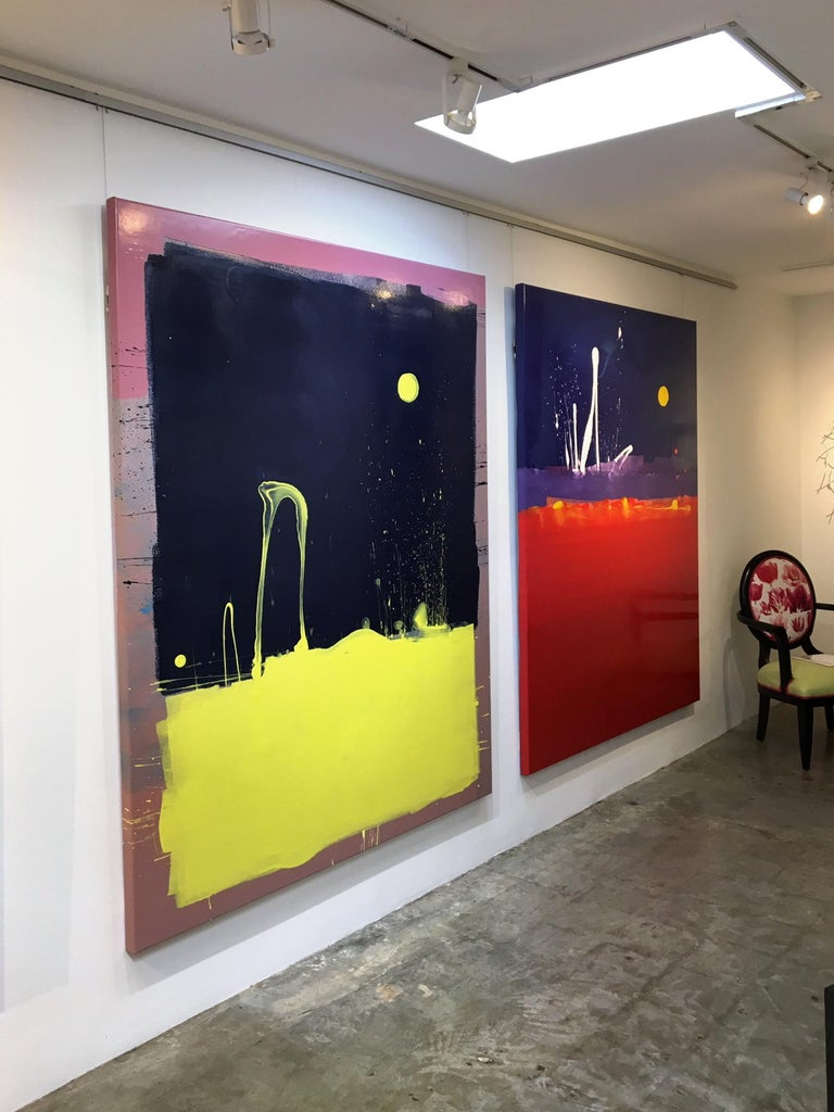 Dark Blue Sky with Yellow Moon Blob Abstract Painting, Gloss on Panel For Sale 5
