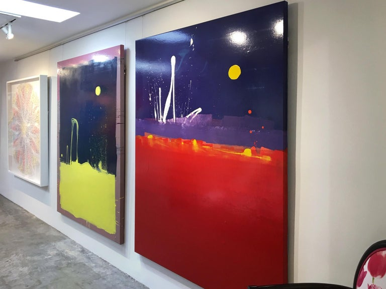 Dark Blue Sky with Yellow Moon Blob Abstract Painting, Gloss on Panel For Sale 6