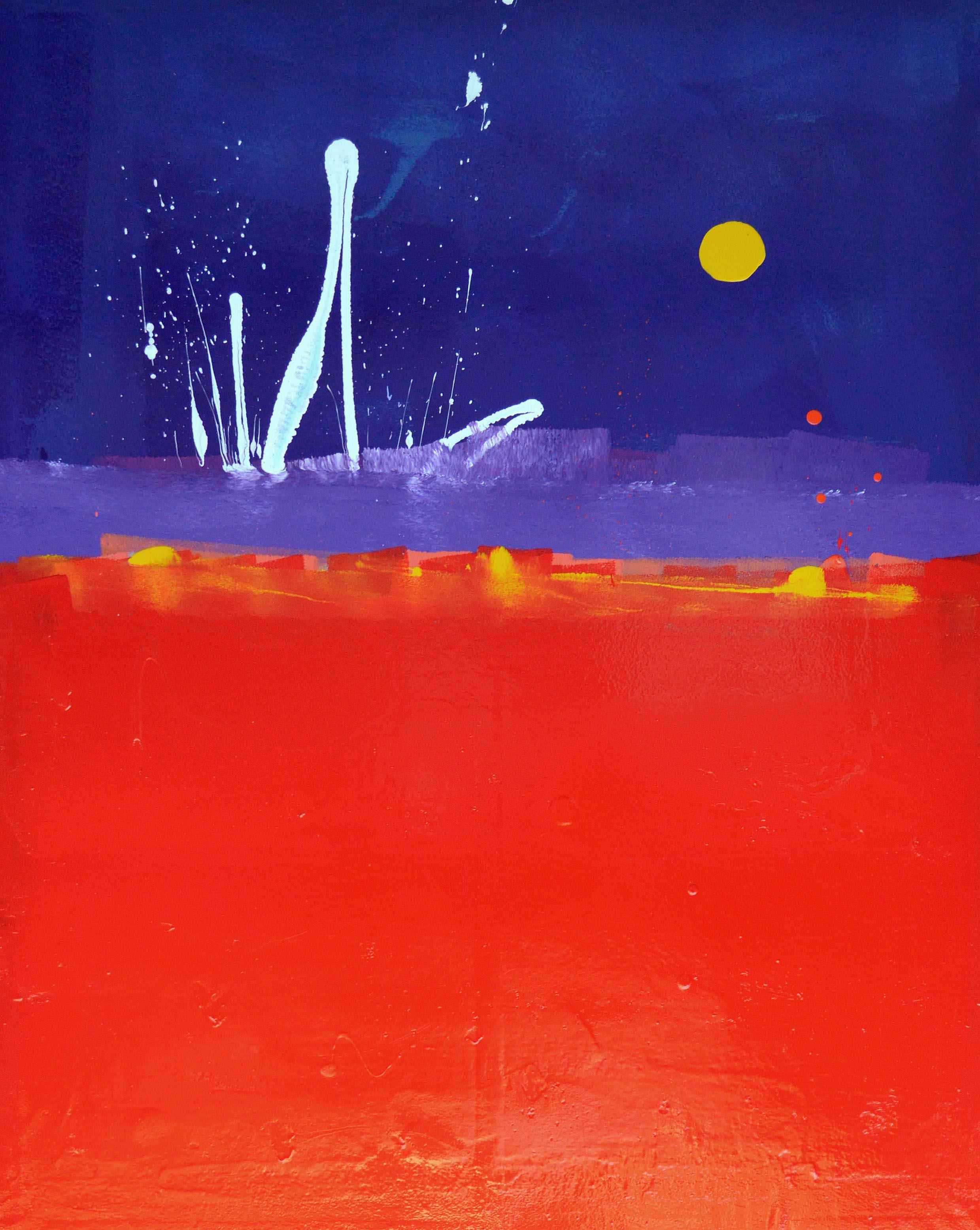 Red Red Red Sky with White Squiggle and Yellow Blob Abstract Painting