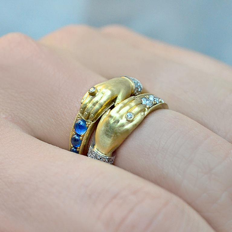Artist Anthony Lent Brilliant White Diamond Platinum Gold One Hand Band Ring For Sale