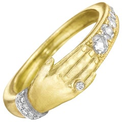 Anthony Lent Brilliant White Diamond Platinum Gold One Hand Band Ring
