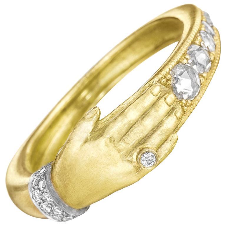 Anthony Lent Brilliant White Diamond Platinum Gold One Hand Band Ring For Sale