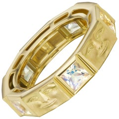 Anthony Lent Princess Cut Moonstone Gold Brickface Eternity Band Ring