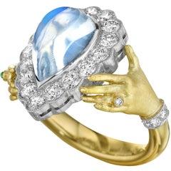 Anthony Lent Rainbow Moonstone Diamond Emerald Platinum Gold Adorned Hands Ring