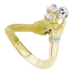 Anthony Lent Rose and Brilliant-Cut White Diamond Platinum Gold Snakebite Ring