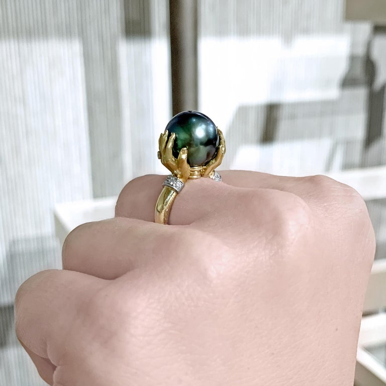 Artist Anthony Lent Tahitian Pearl White Diamond Platinum Gold Adorned Hands Ring For Sale