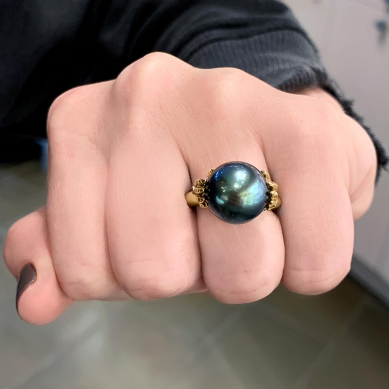 Anthony Lent Tahitian Pearl White Diamond Platinum Gold Adorned Hands Ring In New Condition For Sale In Dallas, TX