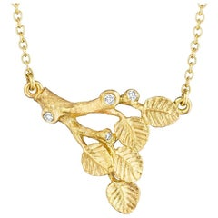Anthony Lent White Diamond Gold Branch Necklace
