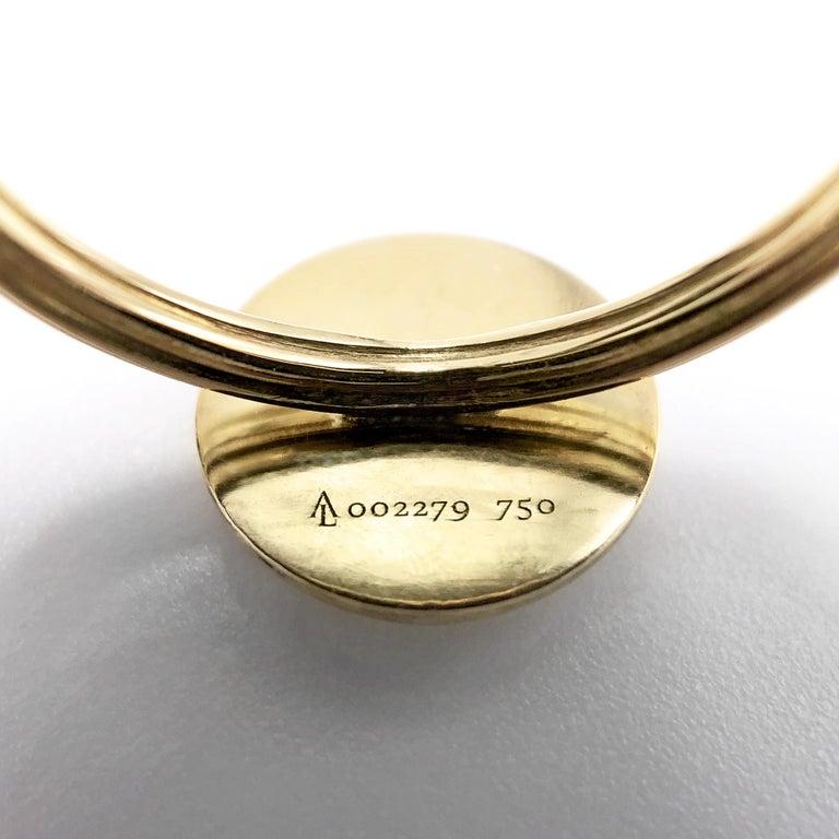 Round Cut Anthony Lent White Diamond Matte Gold Moonface Ring
