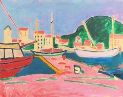 'Port de Vendres' After André Derain, Esalen, California, Post Impressionist Oil