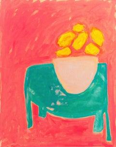 'Red Still Life', Santa Cruz, California, Post Impressionist Oil, Esalen