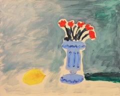 'Still Life of Roses with a Lemon', Santa Cruz, California, Post-Impressionist