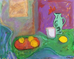 'Still Life with Lemons and a Green Jug', California Post-Impressionist oil