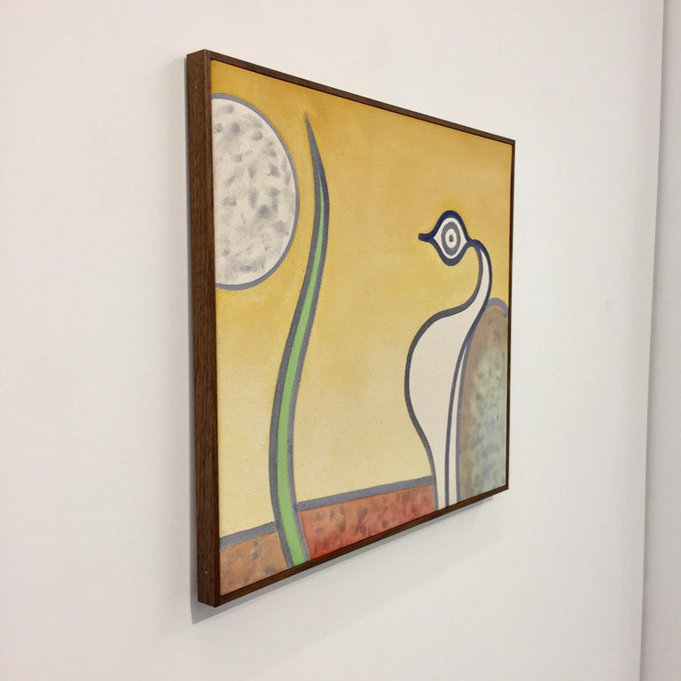Bird with Blade of Grass, 2018, mixed media on canvas framed, 18 x 20 inches For Sale 1