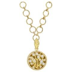 Anthony Nak 18 Karat Yellow Gold and Diamond Circular Tree Pendant