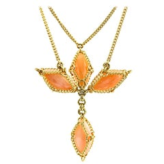 Anthony Nak Pink Opal Cross Necklace in 18 Karat Yellow Gold