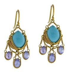Anthony Nak Turquoise and Iolite Drop Earrings