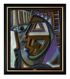 Anthony Quinn Original Bronze Sculpture Painting Signed Cubism Portrait Large