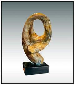 Anthony Quinn Original Carved Marble Sculpture Hand Large Signed Cubism Portrait