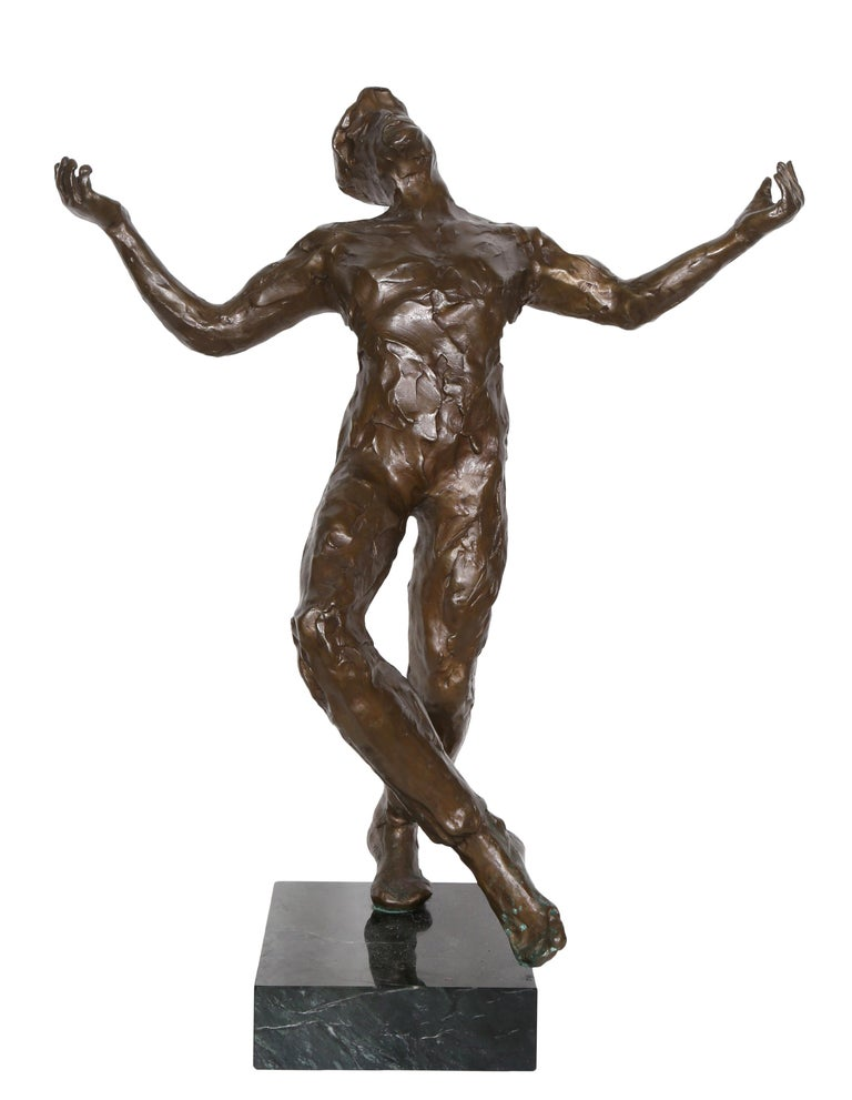 Artist: Anthony Quinn Title: Song of Zorba  Year: 1984 Medium: Bronze sculpture on marble base, signature and year inscribed Size: 24 in. x 20 in. x 9 in. (60.96 cm x 50.8 cm x 22.86 cm)