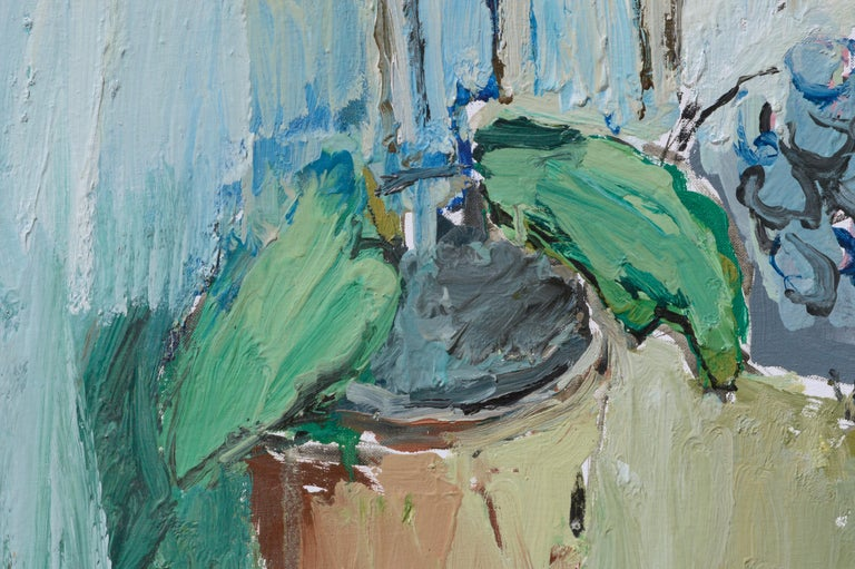 Abstracted Still Life with Coffee Grinder - Gray Interior Painting by Anthony Rappa
