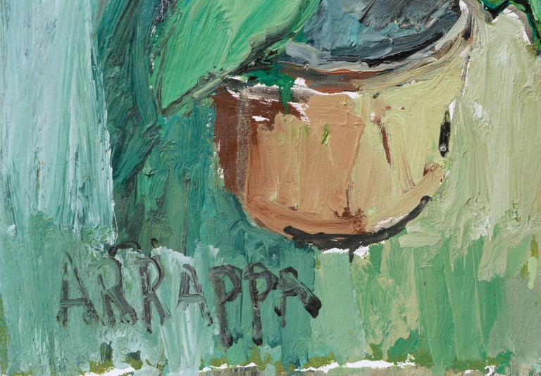 Soothing, heavily textured still life by Anthony Rappa (American, 20th Century). Signed