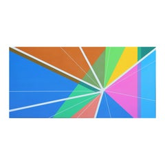 """""""Collide-A-Scope"""" Colorful Contemporary Geometric Op Art Abstract Painting"""