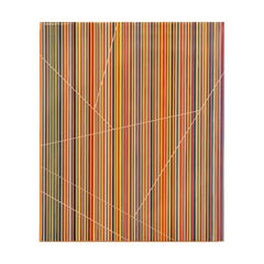 """""""Number Fourteen"""" Red, Yellow, Blue & Green Linear Minimal Contemporary Painting"""