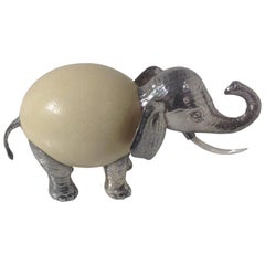 Anthony Redmile Elephant Sculpture in Silver Plate with Ostrich Egg