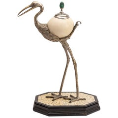 Anthony Redmile Ostrich Egg Box Mounted on Silver Plated Crane, circa 1970