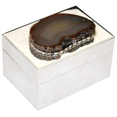 Anthony Redmile Silver Plate Box with Agate Top London, circa 1970