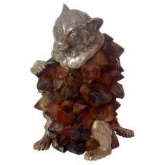 Anthony Redmile Spectacular Brown Amythyst or Quartz Stone Sculpture Bear
