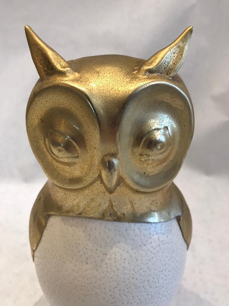 Darling as can be, this whimsical vintage owl sculpture made from gilded metal and a real ostrich egg. Not signed but possibly by Anthony Redmile. It is of very high quality in detail, craftsmanship and proportion.