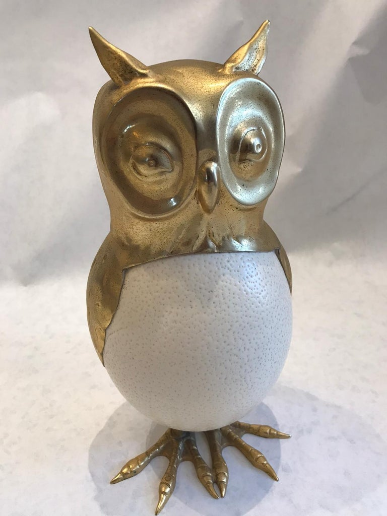 Anthony Redmile Style Ostrich Egg and Brass Owl Sculpture For Sale 1