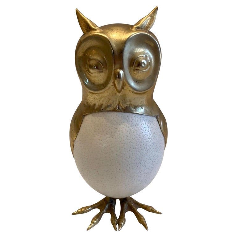 Anthony Redmile Style Ostrich Egg and Brass Owl Sculpture For Sale